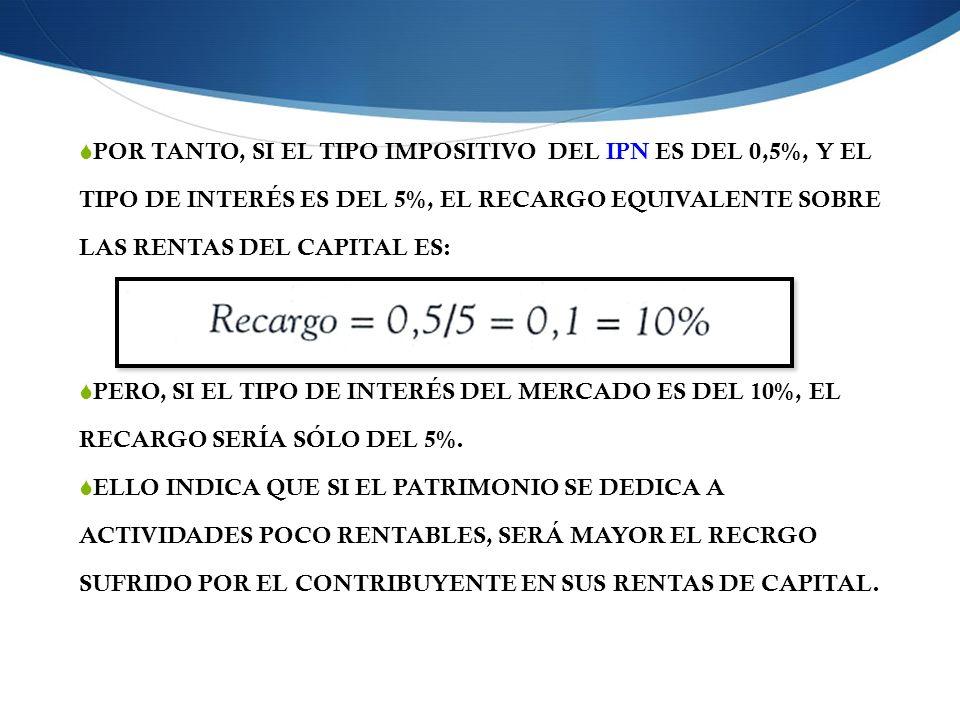 POR TANTO, SI EL TIPO IMPOSITIVO DEL IPN ES DEL 0,5%, Y EL TIPO DE INTERÉS ES DEL 5%, EL RECARGO EQUIVALENTE SOBRE LAS RENTAS DEL CAPITAL ES: