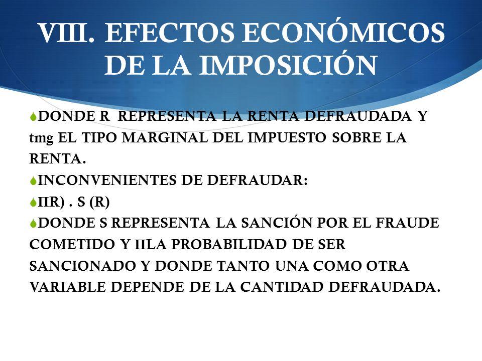 VIII. EFECTOS ECONÓMICOS DE LA IMPOSICIÓN