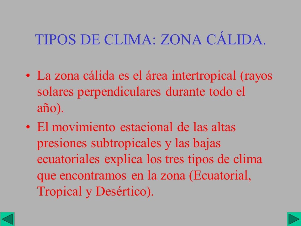 TIPOS DE CLIMA: ZONA CÁLIDA.