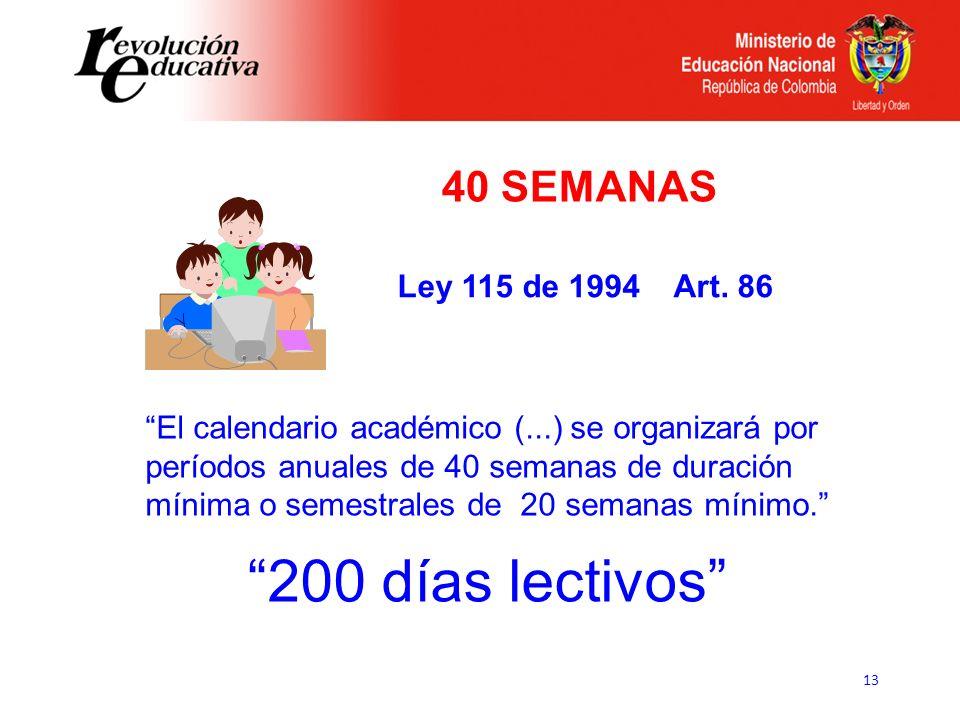200 días lectivos 40 SEMANAS Ley 115 de 1994 Art. 86