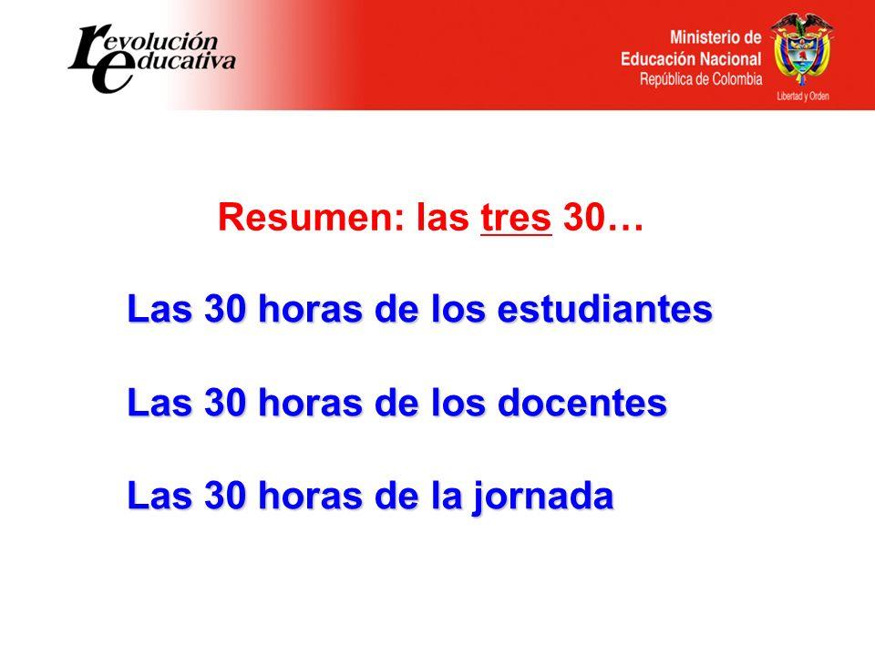 Resumen: las tres 30… Las 30 horas de los estudiantes.