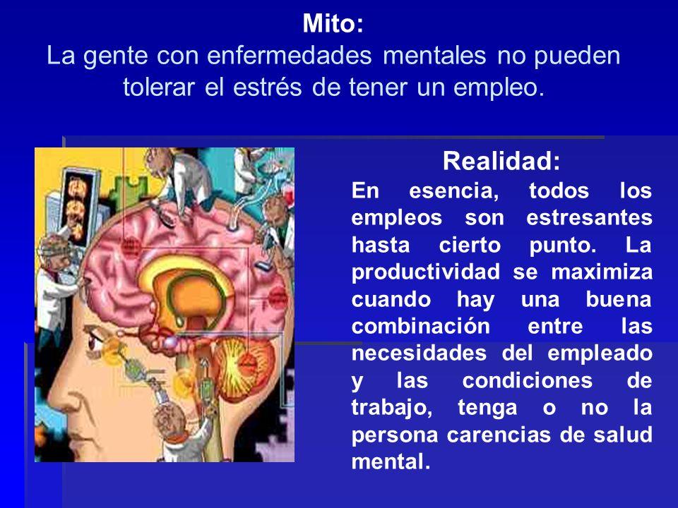 Mito: La gente con enfermedades mentales no pueden tolerar el estrés de tener un empleo. Realidad: