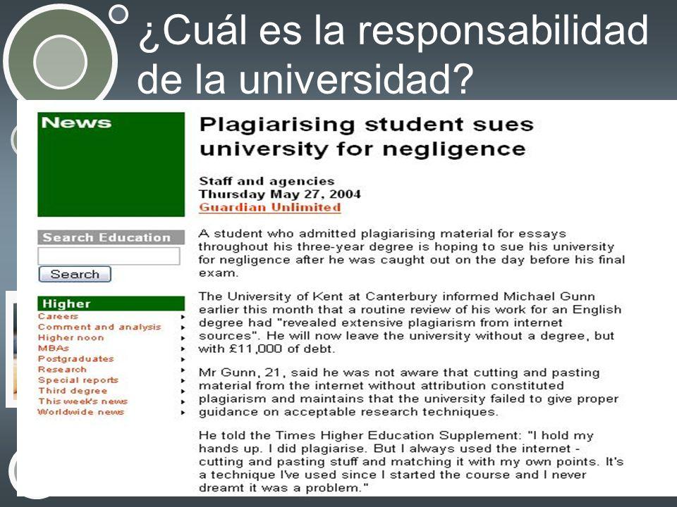 ¿Cuál es la responsabilidad de la universidad