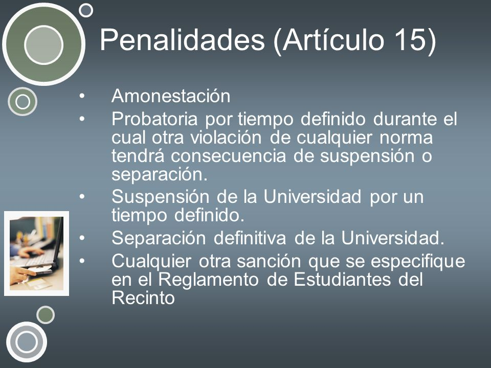 Penalidades (Artículo 15)