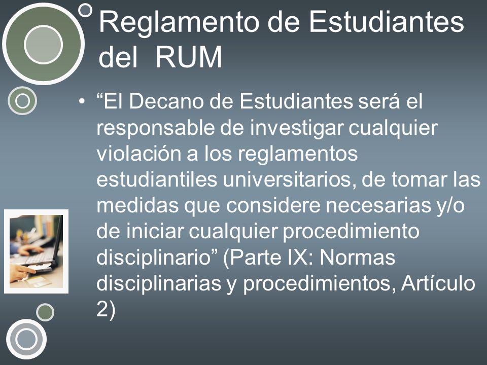 Reglamento de Estudiantes del RUM
