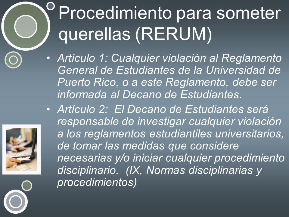 Procedimiento para someter querellas (RERUM)