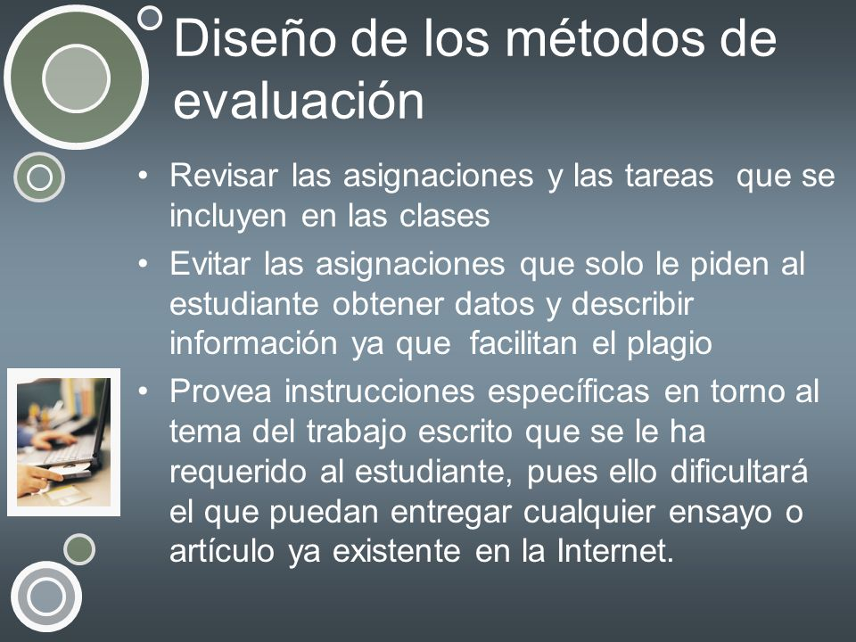 Diseño de los métodos de evaluación