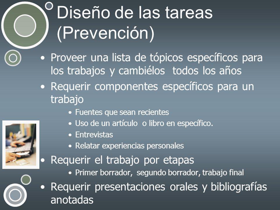 Diseño de las tareas (Prevención)