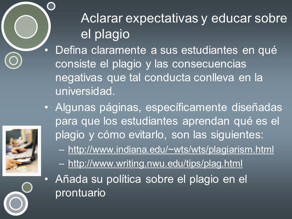 Aclarar expectativas y educar sobre el plagio