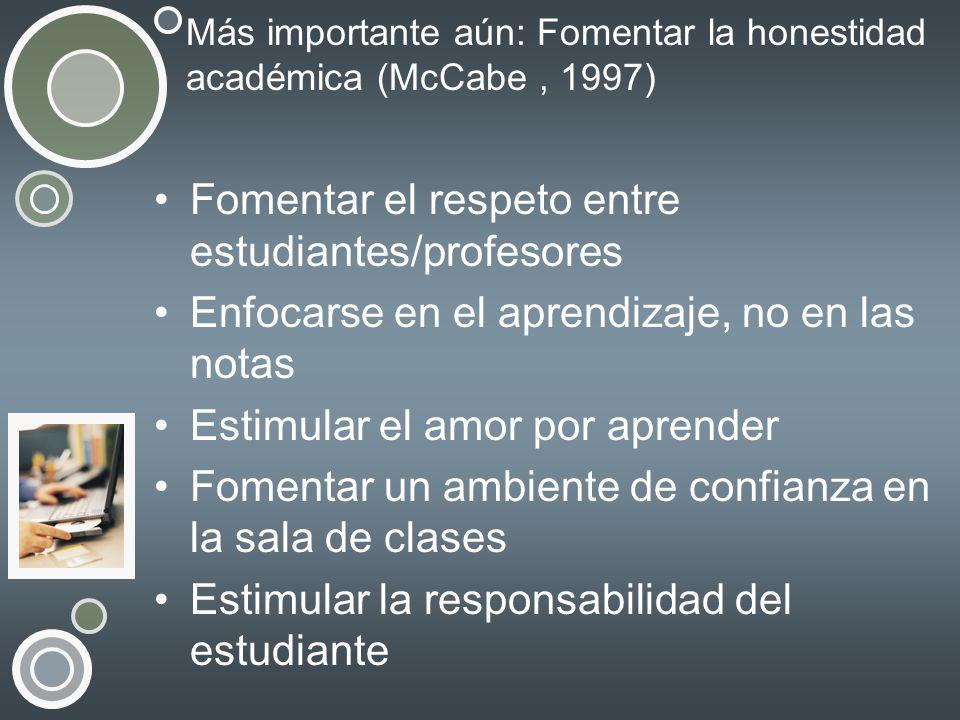 Más importante aún: Fomentar la honestidad académica (McCabe , 1997)