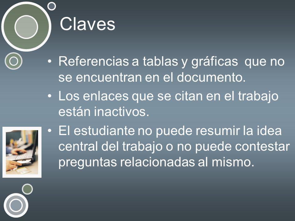 Claves Referencias a tablas y gráficas que no se encuentran en el documento. Los enlaces que se citan en el trabajo están inactivos.