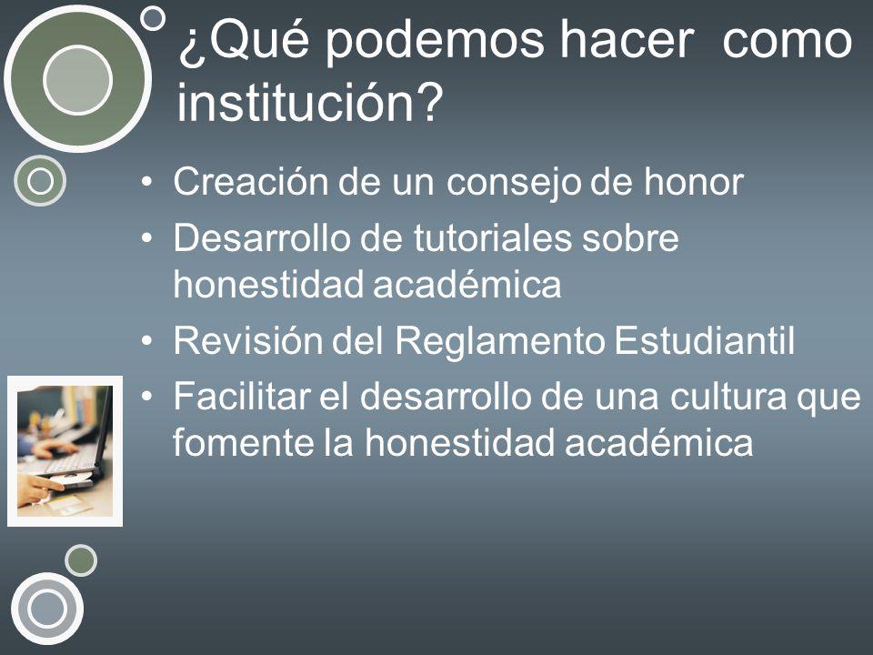 ¿Qué podemos hacer como institución