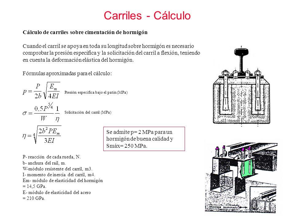 Carriles - Cálculo Cálculo de carriles sobre cimentación de hormigón