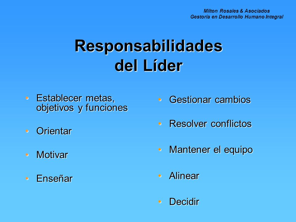 Responsabilidades del Líder