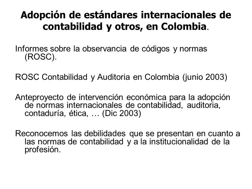 Adopción de estándares internacionales de contabilidad y otros, en Colombia.