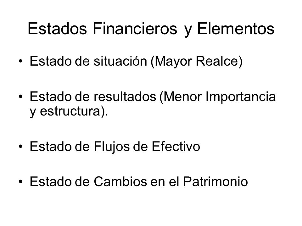 Estados Financieros y Elementos