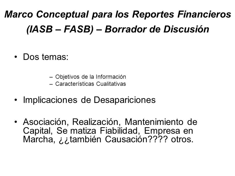 Marco Conceptual para los Reportes Financieros (IASB – FASB) – Borrador de Discusión