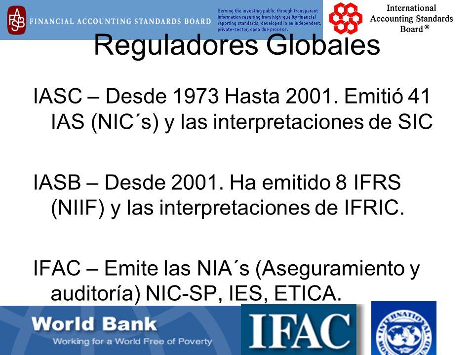 Reguladores Globales IASC – Desde 1973 Hasta 2001. Emitió 41 IAS (NIC´s) y las interpretaciones de SIC.
