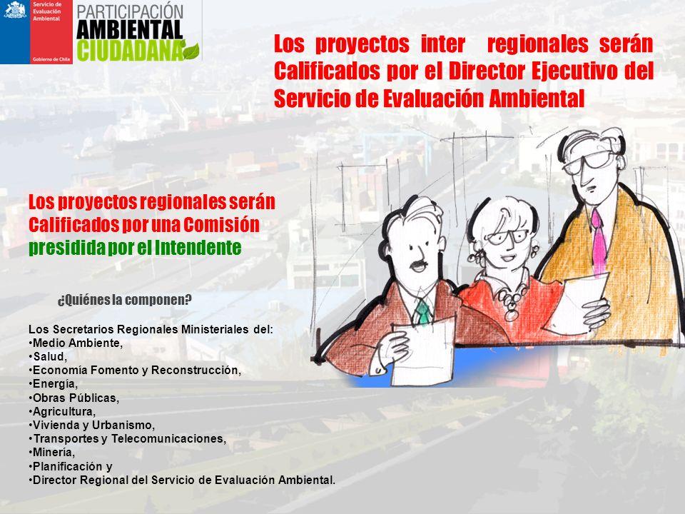 Los proyectos inter regionales serán Calificados por el Director Ejecutivo del Servicio de Evaluación Ambiental