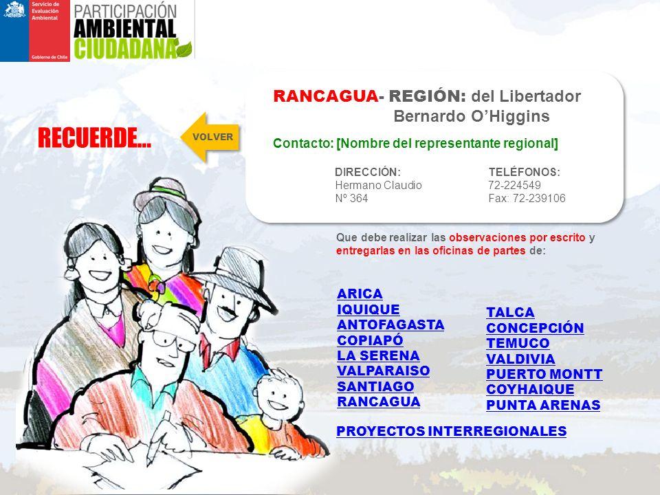 RECUERDE… RANCAGUA- REGIÓN: del Libertador Bernardo O'Higgins