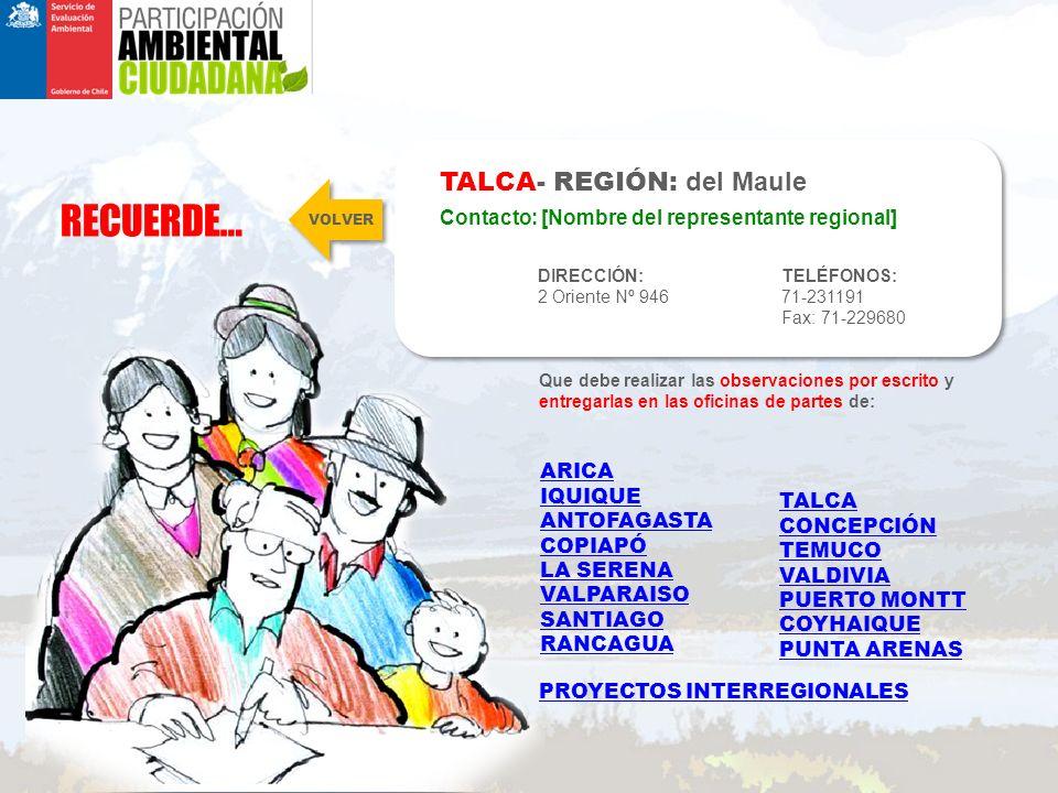 RECUERDE… TALCA- REGIÓN: del Maule