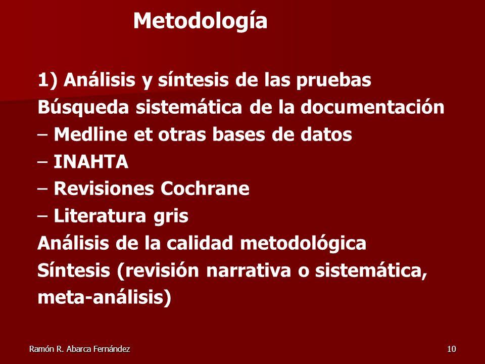 Metodología 1) Análisis y síntesis de las pruebas