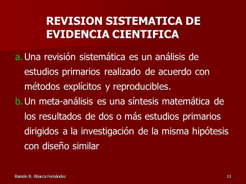REVISION SISTEMATICA DE EVIDENCIA CIENTIFICA