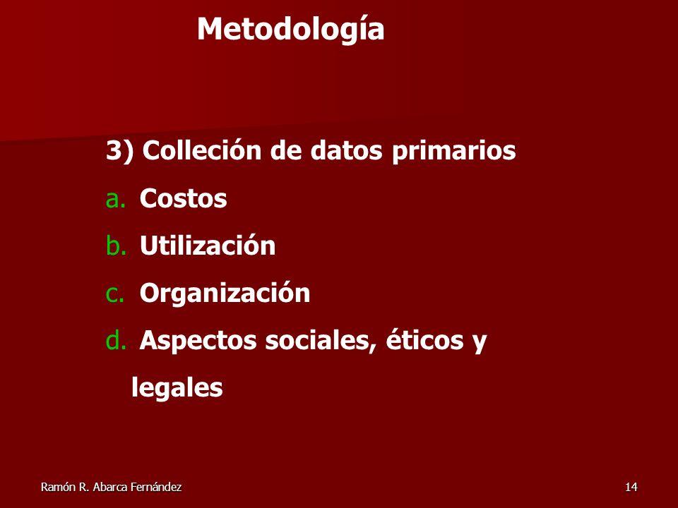 Metodología 3) Colleción de datos primarios Costos Utilización