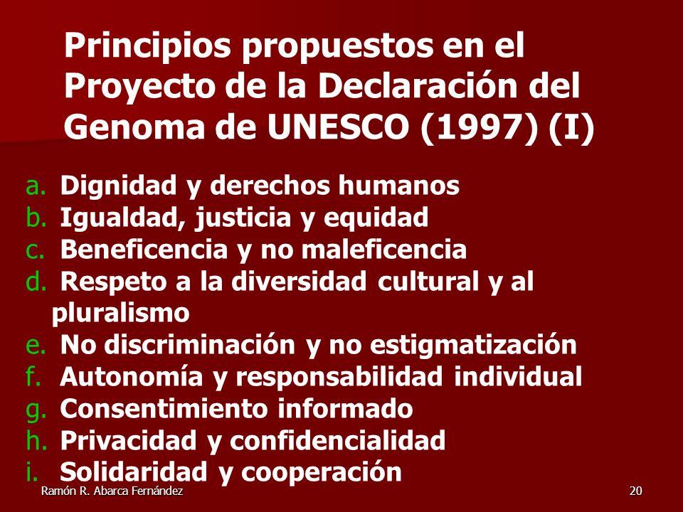 Principios propuestos en el Proyecto de la Declaración del Genoma de UNESCO (1997) (I)