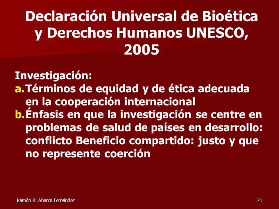 Declaración Universal de Bioética y Derechos Humanos UNESCO, 2005