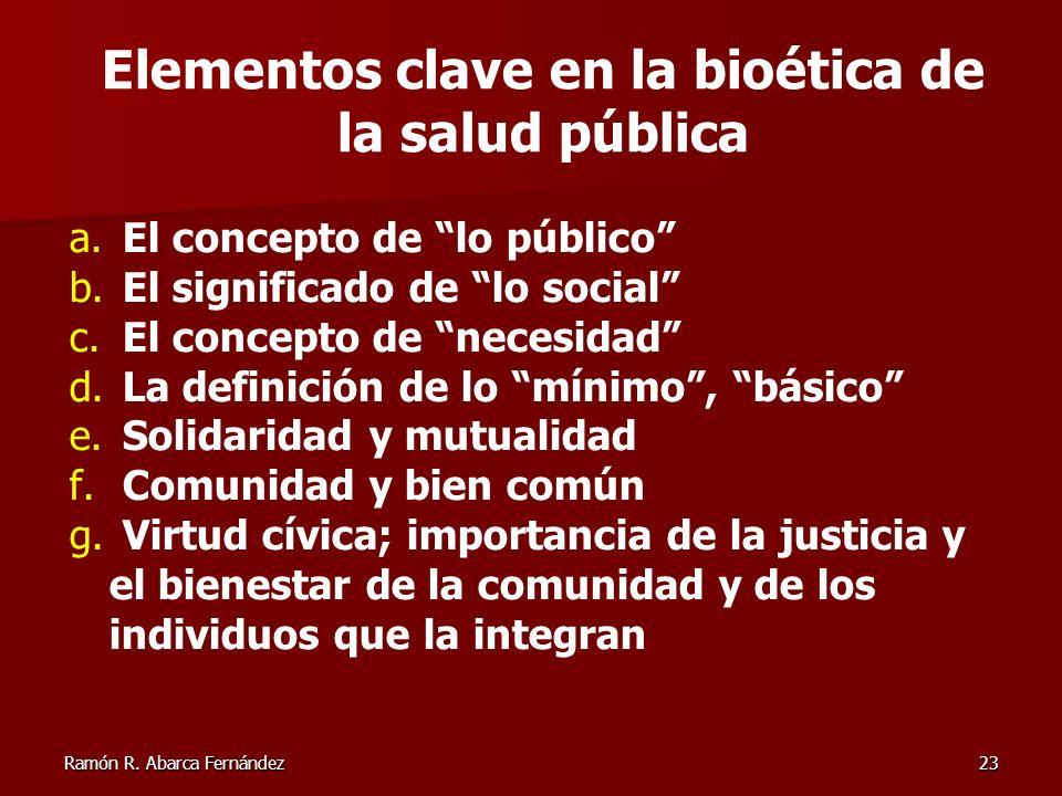 Elementos clave en la bioética de la salud pública