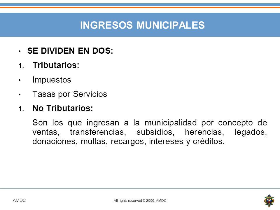 INGRESOS MUNICIPALES SE DIVIDEN EN DOS: Tributarios: Impuestos