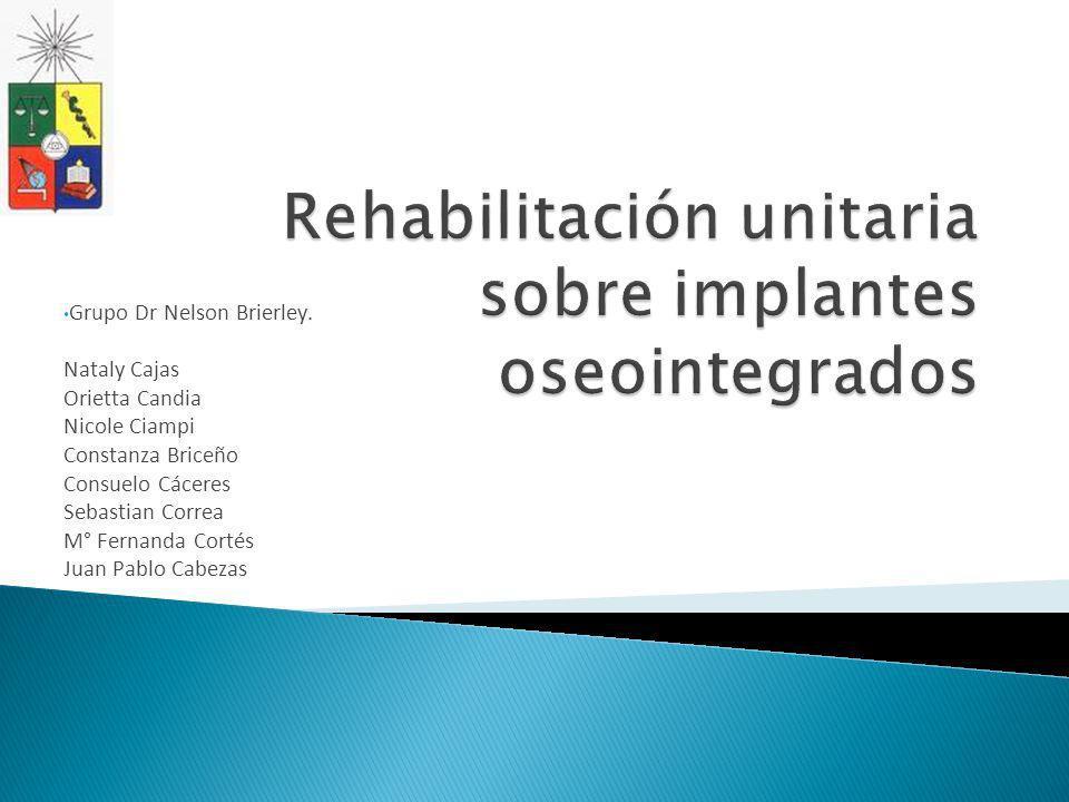 Rehabilitación unitaria sobre implantes oseointegrados