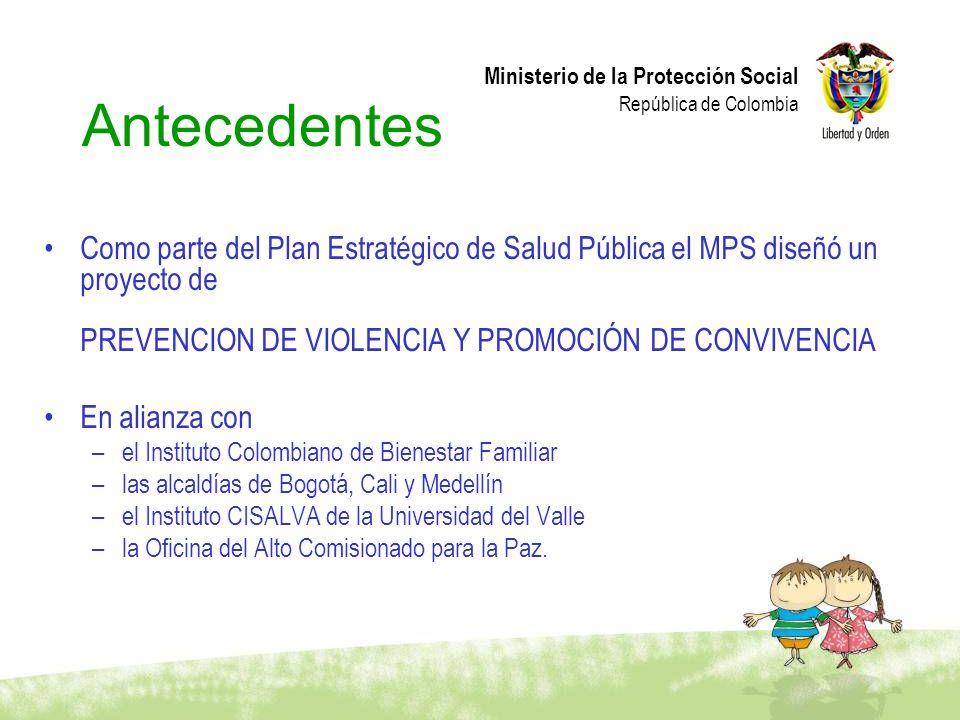 Antecedentes Como parte del Plan Estratégico de Salud Pública el MPS diseñó un proyecto de PREVENCION DE VIOLENCIA Y PROMOCIÓN DE CONVIVENCIA.