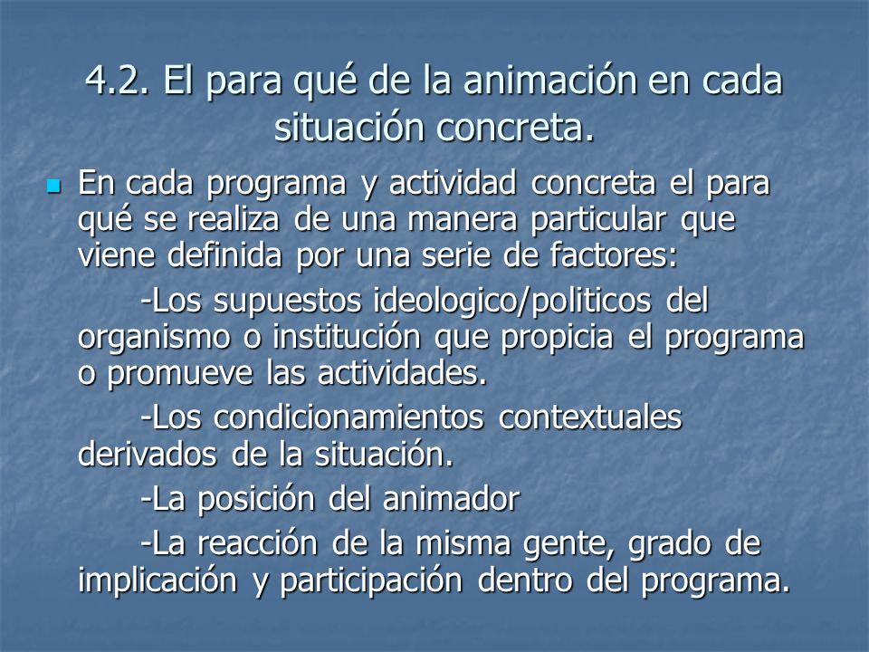 4.2. El para qué de la animación en cada situación concreta.