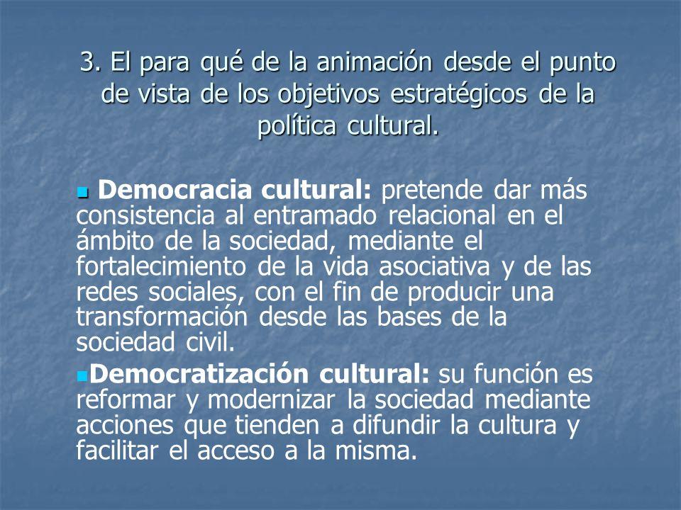 3. El para qué de la animación desde el punto de vista de los objetivos estratégicos de la política cultural.
