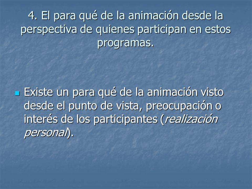 4. El para qué de la animación desde la perspectiva de quienes participan en estos programas.