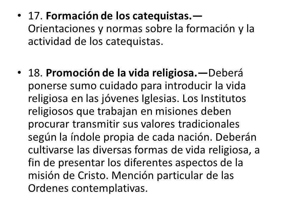 17. Formación de los catequistas