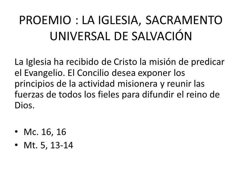 PROEMIO : LA IGLESIA, SACRAMENTO UNIVERSAL DE SALVACIÓN
