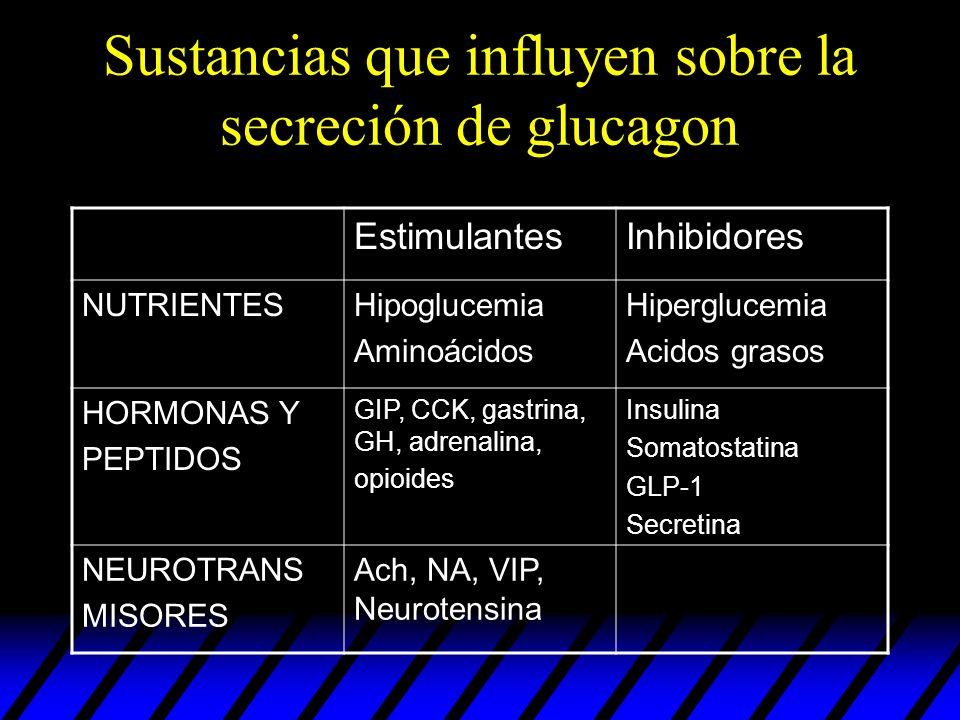 Sustancias que influyen sobre la secreción de glucagon