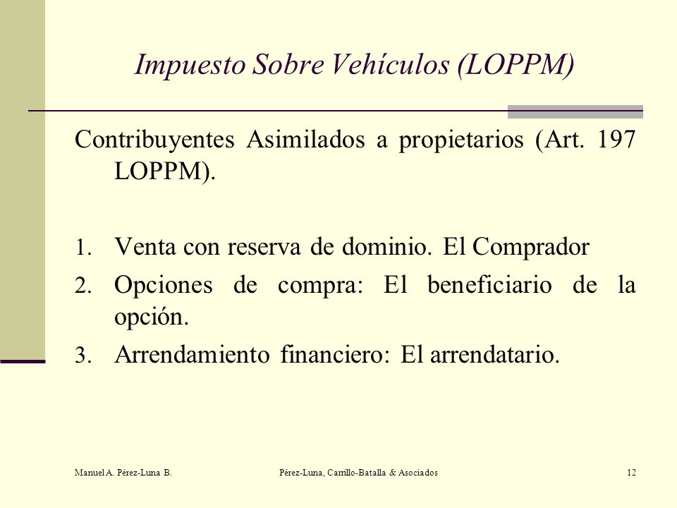 Impuesto Sobre Vehículos (LOPPM)
