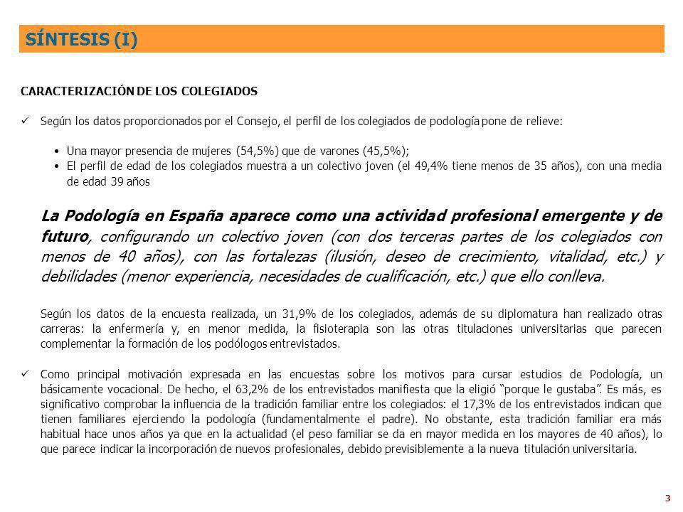 SÍNTESIS (I) CARACTERIZACIÓN DE LOS COLEGIADOS.