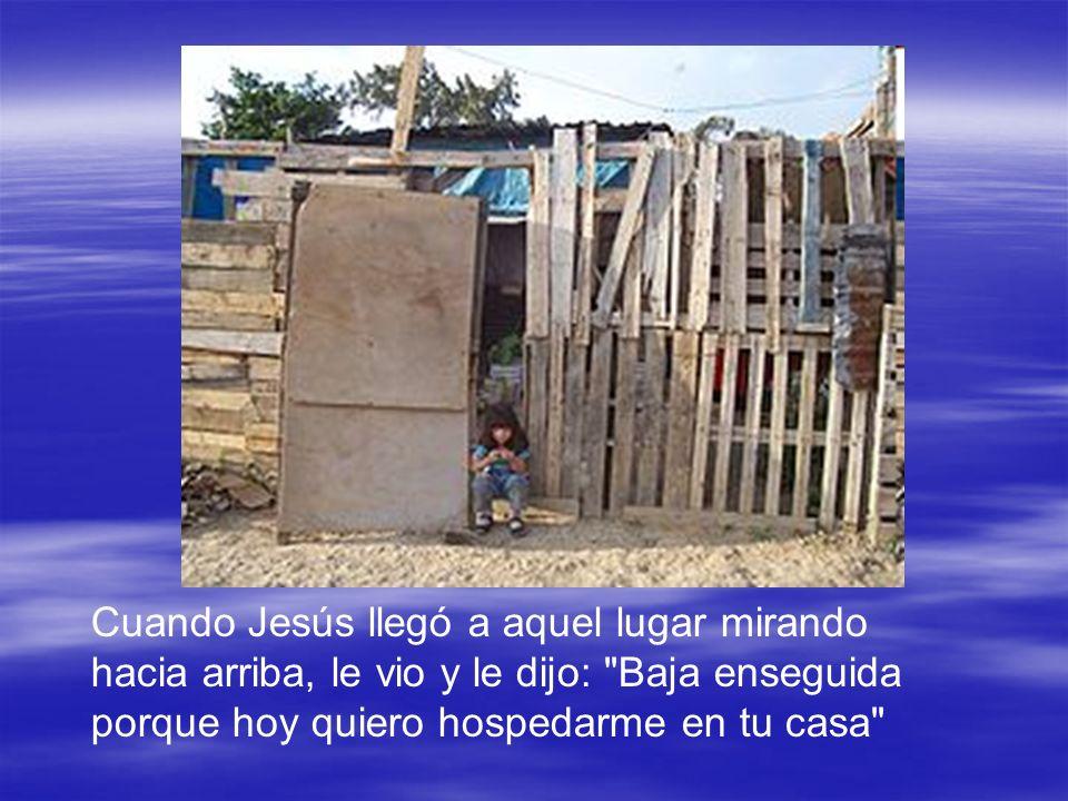 Cuando Jesús llegó a aquel lugar mirando hacia arriba, le vio y le dijo: Baja enseguida porque hoy quiero hospedarme en tu casa