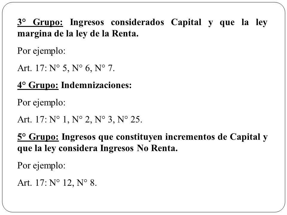 3° Grupo: Ingresos considerados Capital y que la ley margina de la ley de la Renta.