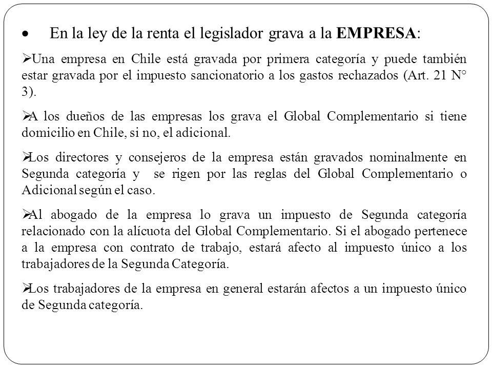 · En la ley de la renta el legislador grava a la EMPRESA: