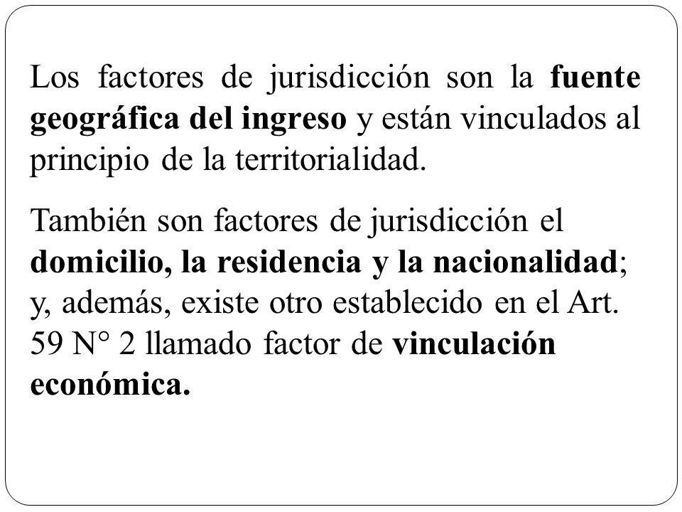 Los factores de jurisdicción son la fuente geográfica del ingreso y están vinculados al principio de la territorialidad.