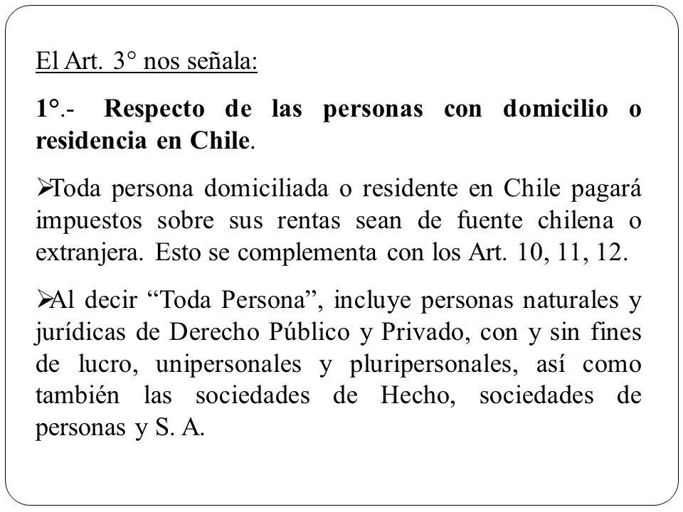 El Art. 3° nos señala: 1°.- Respecto de las personas con domicilio o residencia en Chile.