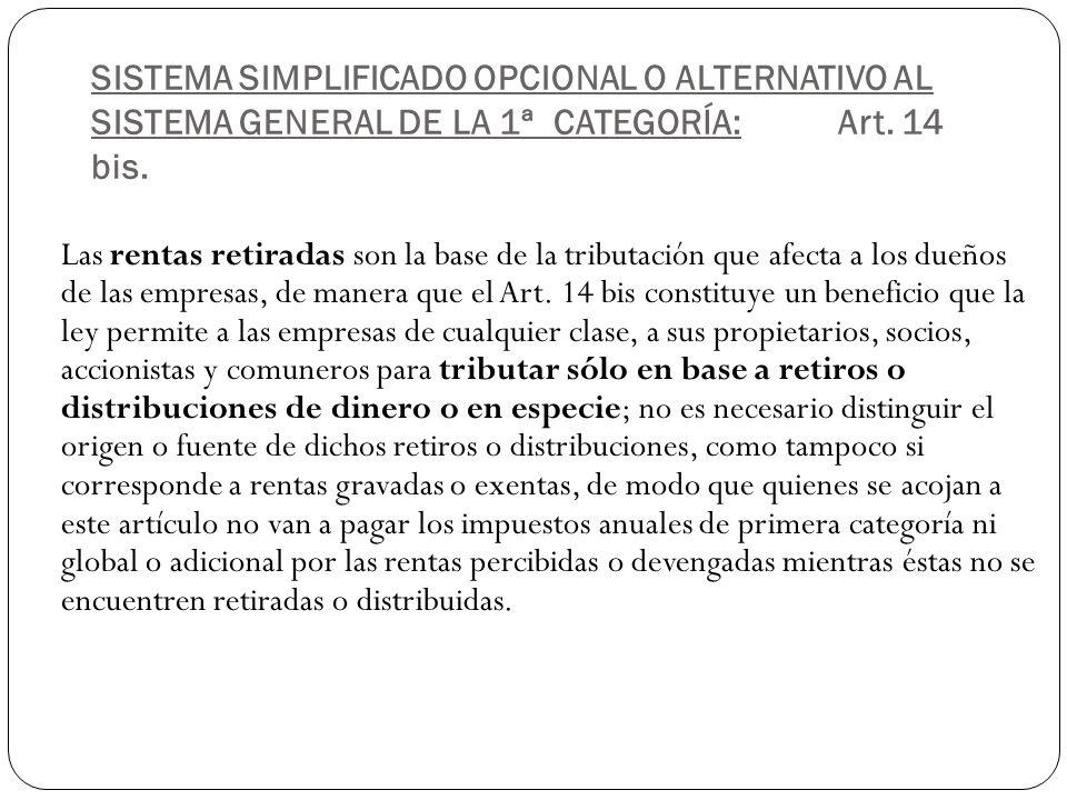 SISTEMA SIMPLIFICADO OPCIONAL O ALTERNATIVO AL SISTEMA GENERAL DE LA 1ª CATEGORÍA: Art. 14 bis.