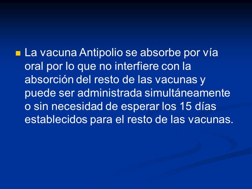 La vacuna Antipolio se absorbe por vía oral por lo que no interfiere con la absorción del resto de las vacunas y puede ser administrada simultáneamente o sin necesidad de esperar los 15 días establecidos para el resto de las vacunas.