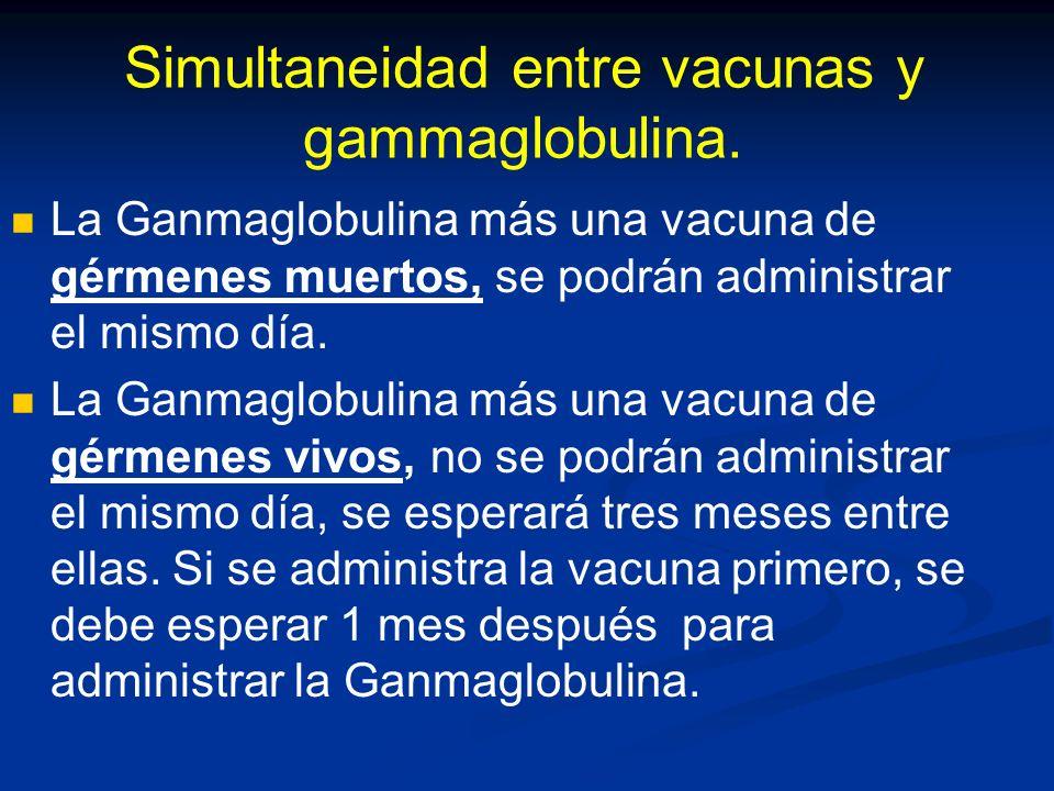 Simultaneidad entre vacunas y gammaglobulina.